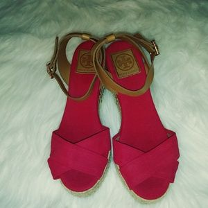 Tory Burch Red Canvas Wedge Sandals